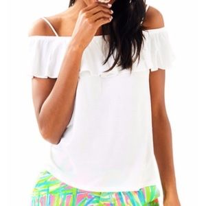 Lily Pulitzer White Off Shoulder Ruffled Blouse